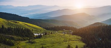 Beautiful sunrise in the Carpathian mountains Royalty Free Stock Photos