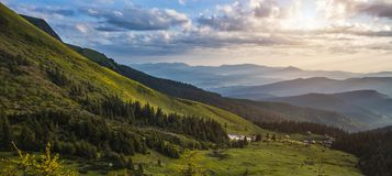 Beautiful sunrise in the Carpathian mountains Stock Photos