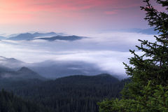 Beautiful sunrise in the Carpathian mountains. Sample Royalty Free Stock Images