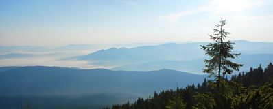 Beautiful sunrise in the Carpathians mountains. Ukraine. Stock Photography