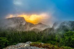 Beautiful sunrise in Ceahlau mountains, Romania. Beautiful sunrise in the Ceahlau mountains, Romania stock photos