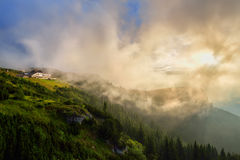 Beautiful sunrise in Ceahlau mountains, Romania Royalty Free Stock Photography
