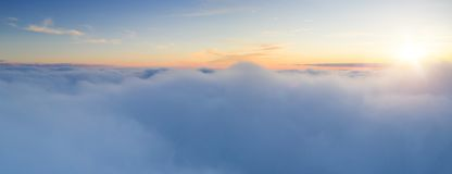 Beautiful sunrise cloudy sky from aerial view royalty free stock photo