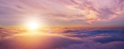Beautiful sunrise cloudy sky from aerial view royalty free stock image