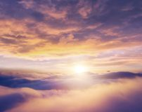 Beautiful sunrise cloudy sky from aerial view stock photos
