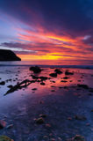 Beautiful sunrise in the coastline Stock Photography
