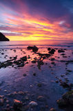 Beautiful sunrise in the coastline Stock Photo