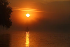 Beautiful sunrise in the Danube Delta Royalty Free Stock Photography