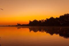 Beautiful sunrise on the Dnieper River stock image