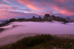Beautiful sunrise on the Dolomites stock image