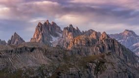 Beautiful sunrise on the Dolomites stock photography
