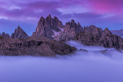 Beautiful sunrise on the Dolomites stock photos