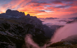 Beautiful sunrise on the Dolomites . Royalty Free Stock Photo