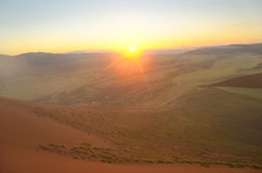 Beautiful sunrise dunes of Namib desert, Africa. Beautiful sunrise dunes, african landscape of Namib desert, Sossusvlei, Namibia, South Africa Stock Photo