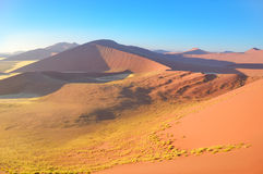 Beautiful sunrise dunes of Namib desert, Africa. Beautiful sunrise dunes, african landscape of Namib desert, Sossusvlei, Namibia, South Africa Stock Image