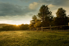 Beautiful sunrise on the farm stock images