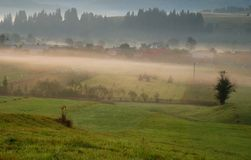 Beautiful sunrise and fog Stock Photo
