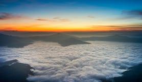 Beautiful sunrise in chiang rai thailand. Beautiful sunrise with fog in chiang rai thailand stock photos