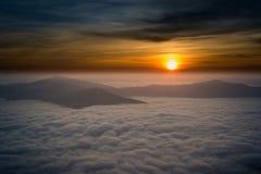 Beautiful sunrise in chiang rai thailand. Beautiful sunrise with fog in chiang rai thailand royalty free stock photos