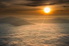 Beautiful sunrise in chiang rai thailand. Beautiful sunrise with fog in chiang rai thailand stock image