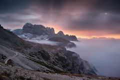 Sunrise at Dolomites, near Tre Cime di Lavaredo, Italy royalty free stock photography