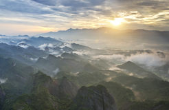 Beautiful sunrise in Guilin, China. Sunrise over the mountains  in Guilin, China Stock Image