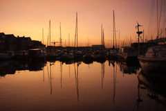 Beautiful sunrise in the harbor, the Netherlands Royalty Free Stock Image