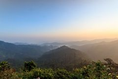 Beautiful sunrise in the hills rain forests. Royalty Free Stock Photography