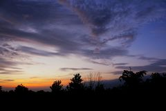 Amazing sunrise landscape in India stock photography