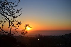 Beautiful sunrise in Jerusalem French Hill towards Judean desert ISRAEL royalty free stock images