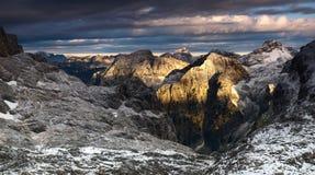 Beautiful sunrise in Julian Alps, Slovenia. Sunrise in Julian Alps after night snowfall Stock Image