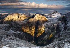 Beautiful sunrise in Julian Alps, Slovenia. Sunrise in Julian Alps after night snowfall Stock Images