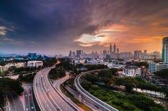 Beautiful sunrise at Kuala Lumpur. This image taken at rooftop one of old flat near Phang Roundabout at kuala lumpur, Malaysia Royalty Free Stock Photography