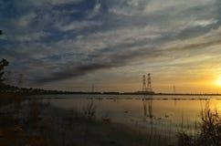 Beautiful sunrise at lake. royalty free stock image