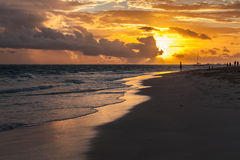 Beautiful sunrise landscape on Atlantic ocean coast Stock Photo
