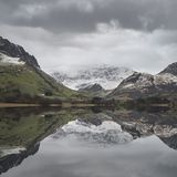 Beautiful Winter landscape image of Llyn Nantlle in Snowdonia Na Stock Photo