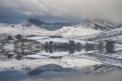 Beautiful Winter landscape image of Llynnau Mymbyr in Snowdonia. Beautiful sunrise landscape image in Winter of Llynnau Mymbyr in Snowdonia National Park with Royalty Free Stock Images