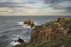 Beautiful sunrise landscape of Land's End in Cornwall England Royalty Free Stock Photos