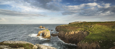 Beautiful sunrise landscape of Land's End in Cornwall England Stock Photography