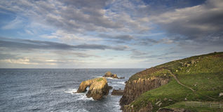 Beautiful sunrise landscape of Land's End in Cornwall England Royalty Free Stock Photo