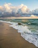 Beautiful Sunrise Landscape of Ocean and Waves in Fort Lauderdale. Beautiful sunrise landscape of ocean, waves and rocks in Fort Lauderdale Beach, Florida Stock Photos