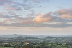 Beautiful dawn landscape over Somerset Levels in English country Stock Photo