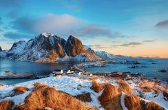 Beautiful sunrise landscape of picturesque fishing village in Lofoten islands, Norway Stock Images