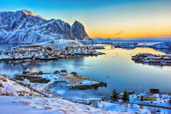 Beautiful sunrise landscape of picturesque fishing village in Lofoten islands, Norway royalty free stock photos