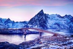 Beautiful sunrise landscape of picturesque fishing village in Lofoten islands, Norway Stock Image