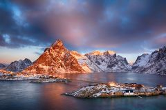 Beautiful sunrise landscape of picturesque fishing village in Lofoten islands, Norway Stock Photography