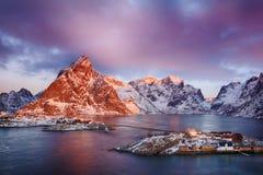 Beautiful sunrise landscape of picturesque fishing village in Lofoten islands, Norway Royalty Free Stock Image