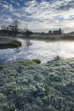 Beautiful sunrise landscape of Priory ruins in countryside locat Stock Images