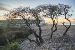 Beautiful dawn landscape of Seven Sisters cliffs landmark on Eng Stock Images