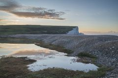 Beautiful dawn landscape of Seven Sisters cliffs landmark on Eng Stock Photography